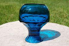Viking Art Glass Bluenique Georgian Candleholder, Vintage Blue Glass Candleholder