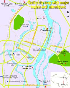Guilin city map with major hotels and attractions Elephant Trunk, Guilin, China Travel, Preschool Worksheets, Slimming World, Beijing, Trip Advisor, Attraction, Things To Do