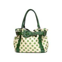 Green polka dot handbag