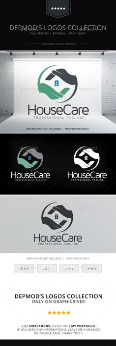 House Care  Logo Design Template Vector #logotype Download it here:  http://graphicriver.net/item/house-care-logo/9703216?s_rank=388?ref=nesto