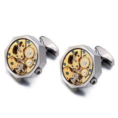 Lepton Gold Watch Movement Cufflinks for immovable Stainless Steel Steampunk Gear Watch Cuff links for Mens Relojes gemelos Urban Fashion, Mens Fashion, Steampunk Gears, Steampunk Fashion, Skeleton Watches, Cheap Watches, Mens Style Guide, Gold Watch, Antique Silver