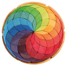 Wooden Rainbow Mandala: Grimm's Toys Circle Coloured Spiral | Wooden Toys | Educational Toys |