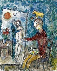 "Marc Chagall, ""The Artist Painting the Amoreux,"" Gouache and Tempera, 1981."