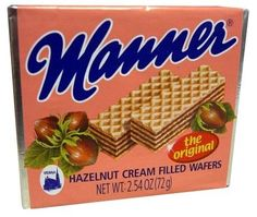 These may look like ordinary wafer cookies but I assure you that they are heavenly. Creamy hazelnut  filling. Manner Original Hazelnut Cream Filled Wafers,12- 2.54 Ounce Bars by Manner, http://www.amazon.com/dp/B004051IDE/ref=cm_sw_r_pi_dp_-A2nsb103PR13