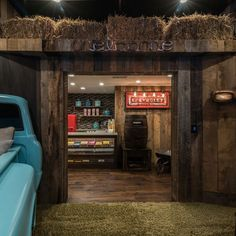 drivein home theater with turquoise pickup truckLove This
