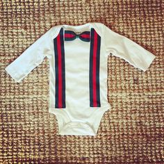 Handmade Baby Gucci Inpired Red and Green Stripes Suspenders and Bowtie Onesie Bodysuit. Be inspired by designer! Handmade Gucci inspired suspenders and bow tie Onesie with red and green stripes! White and Black onesie are available! Long sleeves and short sleeves are available!.