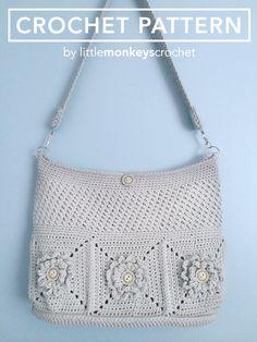 Purse Crochet Pattern Crochet Shoulder Bag by LittleMonkeysCrochet