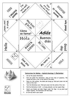 Spanish Greetings Cootie Catchers Fun interactive activity involving a bit of cutting then folding origami style - leading to children asking and answering questions and learning some common greetings. Based on the popular fortune-teller children's game. French Greetings, Spanish Greetings, French Days, Core French, Spanish Teaching Resources, Spanish Activities, Spanish Games, Days Of The Week Activities, Tes Resources