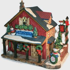Vintage O'Well Christmas Village Fanny's Fabrics ~ White Snow Capped Roof ~ Light Up Christmas Decor ~ Heartland Valley Village ~ by ArtsyVintageBoutique