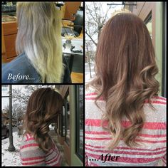 Transition a grown out platinum blonde into a subtle ombre! Cut Color & Style By Amber Hall.