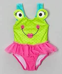 Another great find on #zulily! Green & Pink Frog Skirted One-Piece - Infant & Toddler by Candlesticks #zulilyfinds