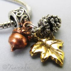Autumn Treasures Silver Pine Cone Copper Acorn And Gold Leaf European Charm Bead #XanaduDesigns #European
