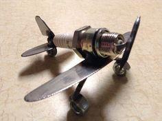 Hand Made Metal Spark Plug Airplane WW1 WW2 by NicksNacs on Etsy