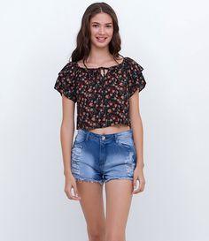 Blusa Ciganinha Floral com Amarração - Lojas Renner