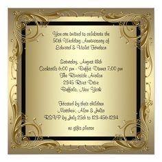 Golden wedding anniversary invitation card anniversary invitations stopboris Gallery