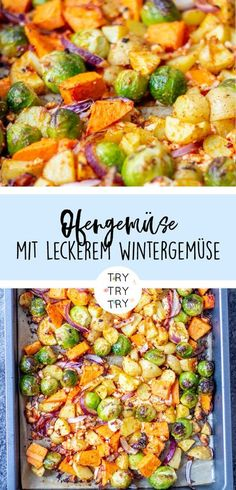 Schnelles Ofengemüse mit leckerem Wintergemüse / Gesundes Essen mit vielen Vit… Fast oven vegetables with delicious winter vegetables / healthy food with many vitamins, quick and easy to prepare Oven Vegetables, Winter Vegetables, Veggies, Healthy Dessert Recipes, Healthy Snacks, Vegetarian Recipes, Eating Healthy, Vegetable Recipes, Menu Dieta