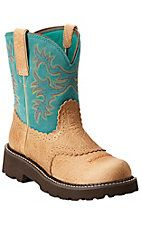 Ariat Fatbaby Women's Tan Buffalo with Teal Top Boots