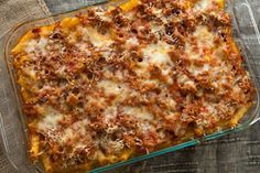 Baked Ziti. brown your meat and add it to spaghetti sauce, cook noodles and mix in jar of alfredo sauce then layer it and top with mozzarella cheese and bake!