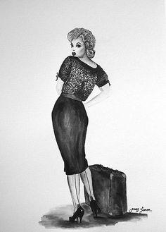 "Original illustration black & white watercolor painting 11""x14"" by LimonArtStudio on Etsy"