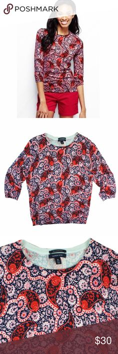 "New LANDS' END Paisley PimaCotton Crewneck Sweater NWOT this new red, blue and pink paisley printed Crewneck sweater from Lands End features a crew neckline and 3/4 length sleeves. Made of 100% Pima cotton. Measures: Bust: 42"", Total Length: 26"", Sleeves: 19"" Lands' End Sweaters Crew & Scoop Necks"