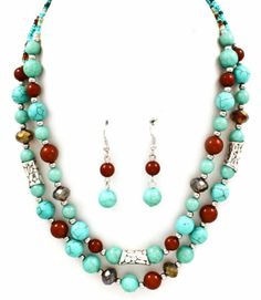 Turquoise & Brown Bead Fashion Costume Statement Fashion Costume Necklace Set