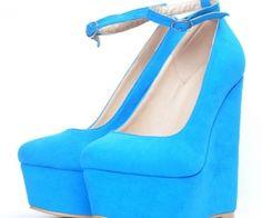 Shoespie Line-Style Buckle Platform Wedge Heels