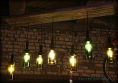 Wine Bottle Light Fixture-ceiling plate from reclaimed wood. www.facebook.com/thetealbutterfly