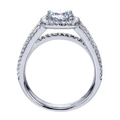 14k White Gold Diamond Halo Engagement Ring | Gabriel & Co NY | ER7786W44JJ