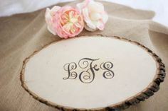 Personalized Rustic Wood Slice Guestbook by IslaGreyDesigns, $39.00