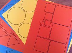 Documents à imprimer en 3 couleurs différentes (rouge, jaune, bleu) Figures rondes Figures carrées Figures triangulaires