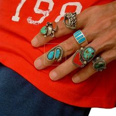SIGNED Vintage Native American Navajo Turquoise RING Snake Motif Solid Sterling…