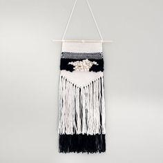 handmade weaving tapestry wall hanging  cream black by nanoutriko