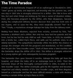Time paradox.  Too cool!!!