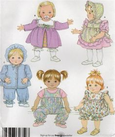 New Ideas craft sewing patterns free doll clothes Doll Patterns Free, Doll Sewing Patterns, Doll Clothes Patterns, Baby Patterns, Free Pattern, Sewing Doll Clothes, Crochet Doll Clothes, Sewing Dolls, Crochet Dolls