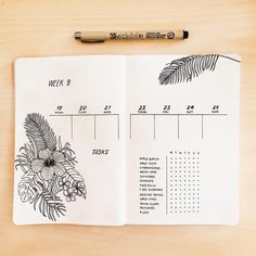 Bullet journal weekly layout, flower drawings, plant drawing, weekly habit tracker. | @journautical