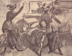 """""""Suffragette cyclists hold up Mr. Winston Churchill by flinging themselves in front of his motorcar. This risky proceeding was carried out last week as a fresh development of militant tactics."""" Women seizing the advantage with new technology! New Bicycle, Bicycle Women, Velo Vintage, Vintage Bicycles, Les Suffragettes, Womens Liberation, Road Rage, Weird Creatures, Badass Women"""
