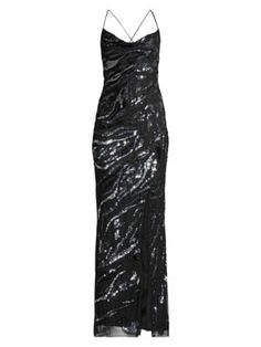 Parker Black Shayna Sequin Column Gown In Black Multi Black Sequin Dress, Black Sequins, Parker Black, Saks Fifth Avenue, Zebra Print, World Of Fashion, Gowns, Clothes For Women, Formal Dresses
