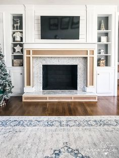 Learn how easy it is to build a simple fireplace surround and mantel from MDF to beef up an existing brick fireplace. This simple DIY tutorial will show you how easy it is to build a fireplace surround and mantel around an existing brick fireplace. Wooden Fireplace Surround, Fireplace Trim, Diy Fireplace Mantel, Fireplace Mantel Surrounds, Build A Fireplace, Simple Fireplace, Brick Fireplace Makeover, Fireplace Remodel, Fireplace Design