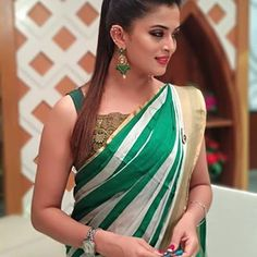 In a green & white color stripes saree and sleeveless blouse design Choli Blouse Design, Blouse Designs, Trending Now Fashion, Saree Photoshoot, Beautiful Girl Image, Beautiful Pictures, Most Beautiful Indian Actress, Indian Beauty Saree, Beautiful Saree