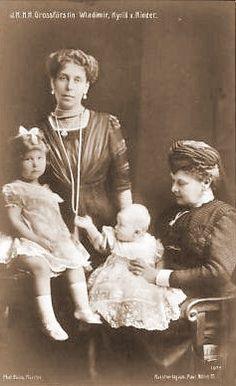 Grand Duchess Viktoria Feodorovna (Victoria Melita) with her daughters Grand Duchess Maria (left) and Kira (right) and mother-in-law Grand Duchess Maria Pavlovna (the elder)