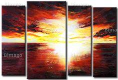 """""""Roter Horizont"""" auf Leinwand. Galerie bimago.de"""