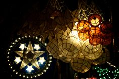 Filipino Christmas Decorations  Parols and capiz lanterns