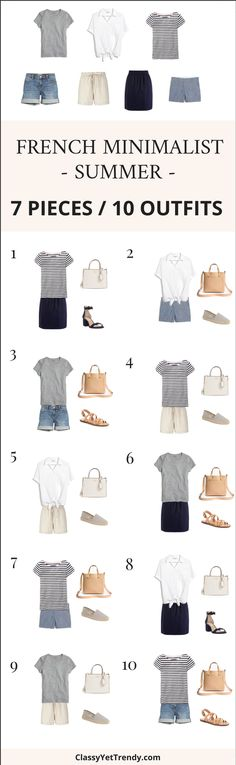 7 Pieces 10 Outfits - French Minimalist Summer Style - These 7 tops and bottoms are classic, timeless pieces that you may already have in your wardrobe! They are a grey tee, white tie shirt, striped tee, denim shorts, linen shorts, chambray shorts and navy skirt. They mix well with one another because of the neutral color tones and the simple designs. All the pieces shown, both clothes, shoes and accessories, are just a few featured in the NEW e-Book, The French Minimalist Capsule Wardrobe…