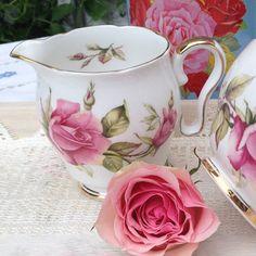 Vintage Royal Stafford First Love Cream Jug, milk jug, pink rose design.