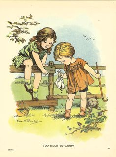 Vintage 1927 Children's Print Nina K Brisley Two Young Children Picking Blackberries Climbing  Fence Bag Bursts Book Plate Book Illustration by printsandpastimes on Etsy
