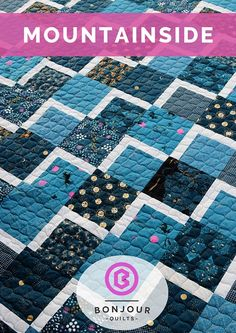 Two Color Quilts, Blue Quilts, Scrappy Quilts, Patchwork Quilting, Modern Quilt Patterns, Quilting Patterns, Quilting Ideas, Quilting Tools, Textiles