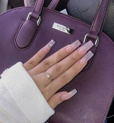 "Natural with little butterfly's 💕 (using Young Nails ""sheer pink"" gel polish) Long Square Acrylic Nails, Long Square Nails, Tapered Square Nails, Best Acrylic Nails, Acrylic Nail Designs, Clear Acrylic, Acrylic Nail Shapes, Acrylic Art, Nail Swag"