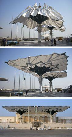 Umbrellas for the Royal Terminal in Jedah, KSA, 2007. http://www.sl-rasch.de/p_1174.html