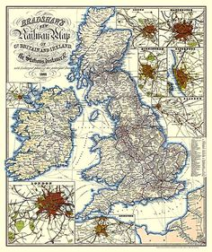 George Bradshaw's popular railway timetable guides, which were revised and republished long after his death, are what he is best known for. But he was also a cartographer - and his map from 1852 reveals a dense network of railways lines spreading out across much of the UK.