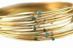 Jennifer Meyer Thin Gold Bangle With Stone